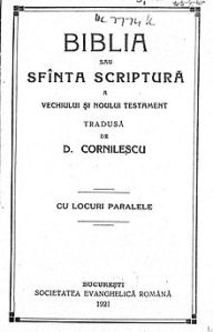 Pagina de titlu a Bibliei Cornilescu 1921